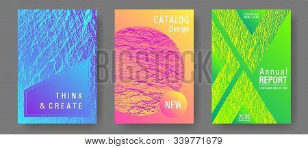 Catalog Cover Vector Templates. Pink Blue Green Rainbow Waves Textures. Marketing Catalog Trendy Lay