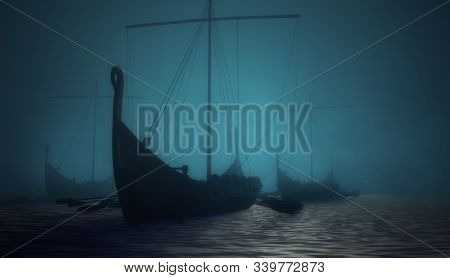 Vikings Ships On The Blue Mysterious Water. 3d Render Illustration.