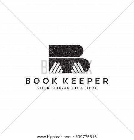 Book Keeper Logo Inspirations, Library Or Librarian Logo Vector. Rustic Book Store Logo Designs