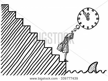 Freehand Drawing Of Business Woman At The Bottom Of Stairways Leading To The Edge Of Shark Invested