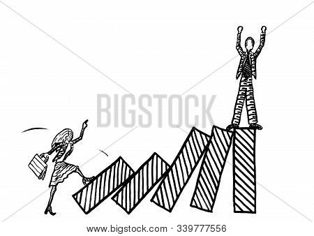 Freehand Drawing Of Business Woman Kicking Over Bars Of Growth Chart To Topple A Male Rival With A D