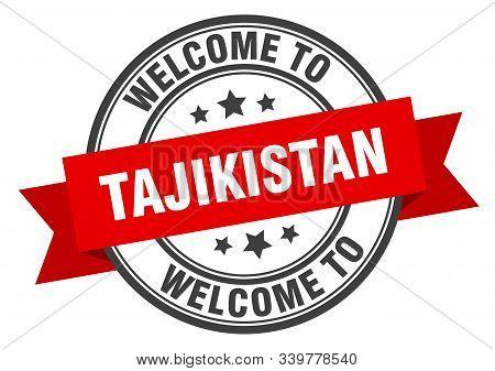 Tajikistan Stamp. Welcome To Tajikistan Red Sign