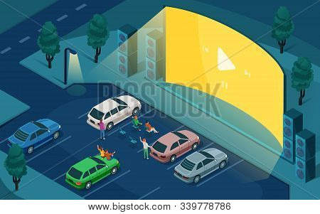 Drive Cinema, Car Open Air Movie Theater, Vector Isometric Design. People In Cars At Night Parking,