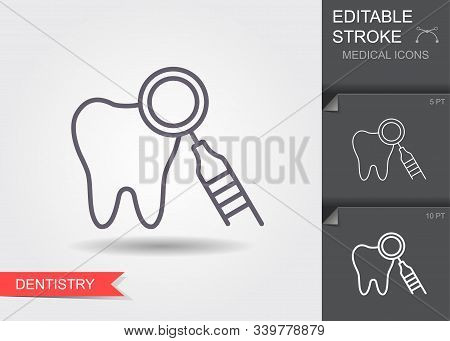 Dentistry. Line Icon With Editable Stroke With Shadow