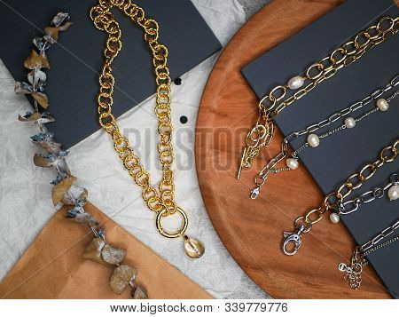 Gold Chains. Valentines Day. A Precious Gift From Your Beloved On Valentines Day. Valuable Jewelry.