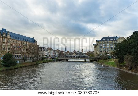 Strasbourg, Bas-rhin / France - 14. December, 2019: View Of Strasbourg City With A Tram Crossing The