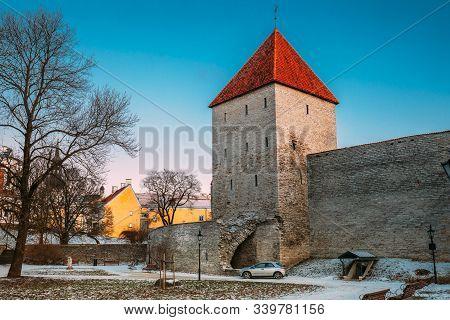 Tallinn, Estonia. Former Prison Tower Neitsitorn In Old Tallinn. Medieval Maiden Tower At Winter Eve