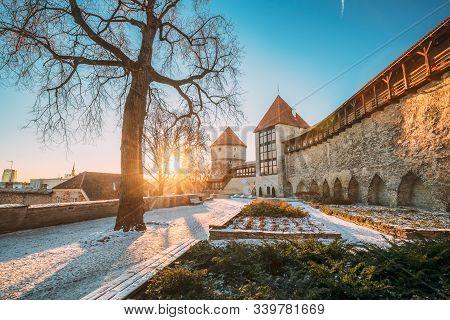 Tallinn, Estonia. Former Prison Tower Neitsitorn In Old Tallinn. Medieval Tower At Winter Sunrise In
