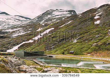 Trollstigen, Andalsnes, Norway. Visitor Centre Near Serpentine Mountain Road Trollstigen. Famous Nor