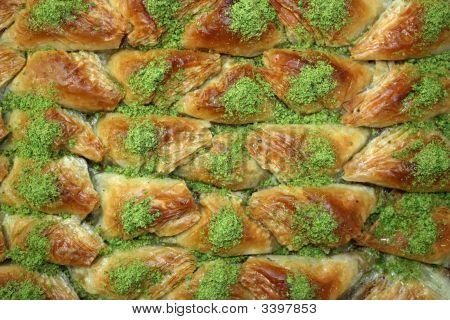 Baklava - Traditional sweet Middle Eastern dessert. Bird view poster