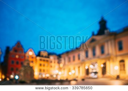 Stockholm, Sweden. Swedish Academy And Nobel Museum In Old Square Stortorget In Gamla Stan. Abstract