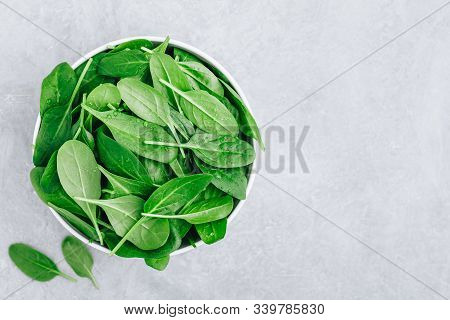 Fresh Spinach Leaves. Raw Spinach In A Colander For Vegetarian Or Vegan Salad Or Smoothie On A Gray