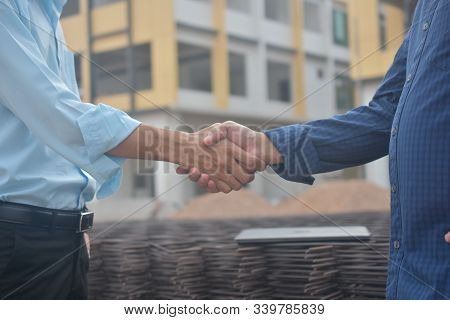 Engineering Hands Shake At Work Place Building Construction Estate Project Success,business People S