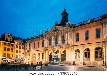 Stockholm, Sweden - June 30, 2019: Famous Old Swedish Academy And Nobel Museum In Old Square Stortor