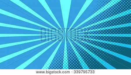 Vintage Colorful Comic Book Background. Blue Blank Bubbles Of Different Shapes. Rays, Radial, Halfto