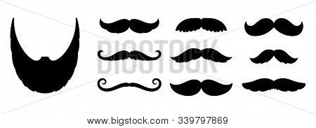 Mustache Icons. Fashion Dandy Hipster Beard, Barber Shop Signs. Black Old Style Curly Mustaches For
