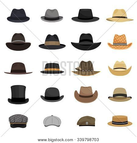 Different Male Hats. Fashion And Vintage Man Hat Collection Vector Image, Derby And Bowler, Cowboy A