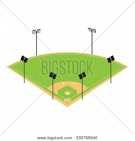 Baseball Field Icon. Isometric Of Baseball Field Vector Icon For Web Design Isolated On White Backgr