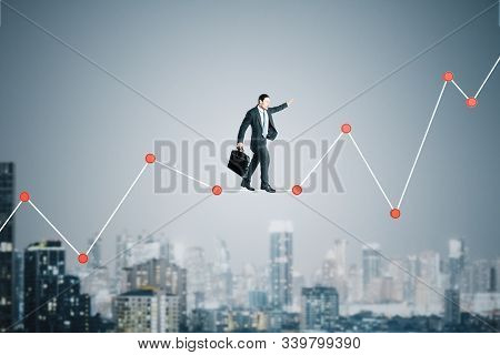 Businessman Walking On Forex Chart On A City Background. Business And Financial Success Concept.