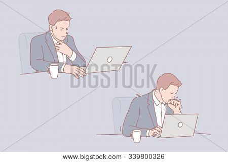 Ill Businessman, Sick Leave At Workplace Concept. Common Cold, Influenza, Ill Young Man With Compute
