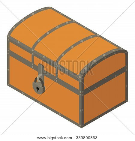 Pirate Dower Chest Icon. Isometric Of Pirate Dower Chest Vector Icon For Web Design Isolated On Whit