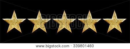 Realistic Five Shiny Golden Star Set On Black Backdrop. Review Rating, Feedback, Quality And Opinion