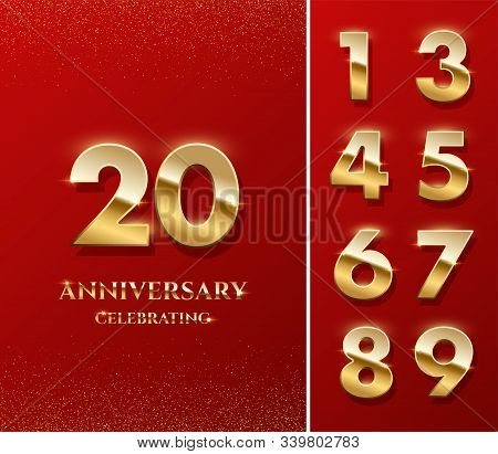 20 Golden Numbers And Anniversary Celebrating Text On Red Background. Vector Vertical Anniversary Ce
