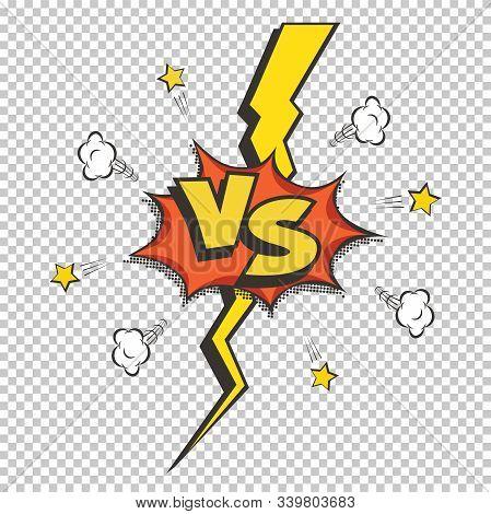 Retro Style Vs Vector Logo. Versus Letters On Transparent Background. Battle, Match, Duel, Competiti