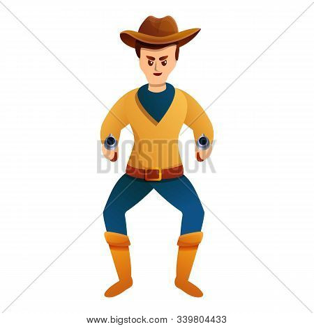 Crazy Pistols Cowboy Icon. Cartoon Of Crazy Pistols Cowboy Vector Icon For Web Design Isolated On Wh