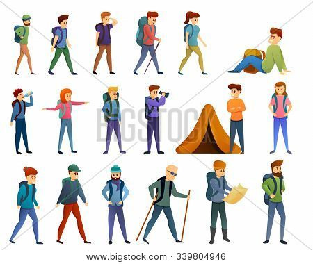 Hiking Icons Set. Cartoon Set Of Hiking Vector Icons For Web Design