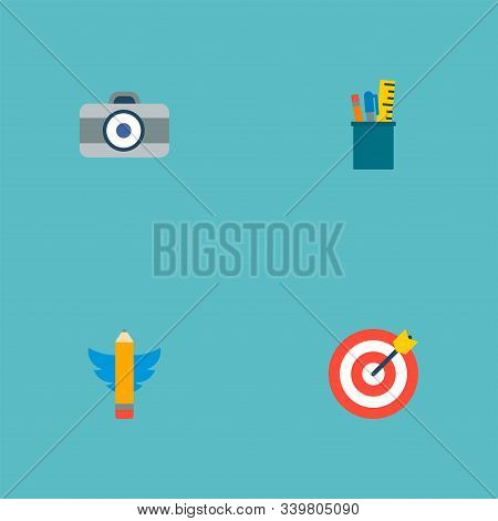 Set Of Original Icons Flat Style Symbols With Drawing Tools, Writing, Dslr Camera And Other Icons Fo