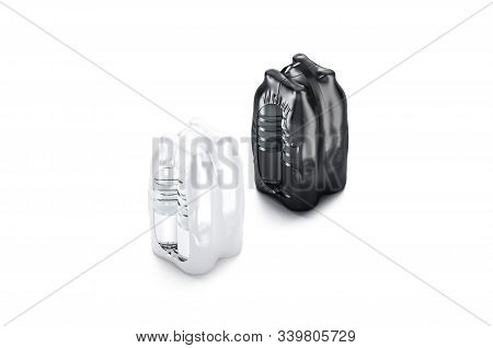Blank Plastic Bottle In Black And White Shrink Wrap Mockup Set, 3d Rendering. Empty Foil Pack With H