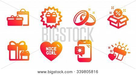 Weather Phone, Nice Girl And Wedding Rings Line Icons Set. Surprise Package, Sale And Surprise Gift