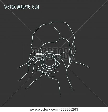 Photograph Icon Line Element. Vector Illustration Of Photograph Icon Line Isolated On Clean Backgrou