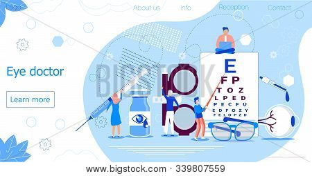 Eye Doctor Concept For Health Care Banner. Glaucoma Treatment Concept Vector. Medical Ophthalmologis