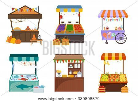 Local Markets With Foodstuffs Flat Illustrations Set