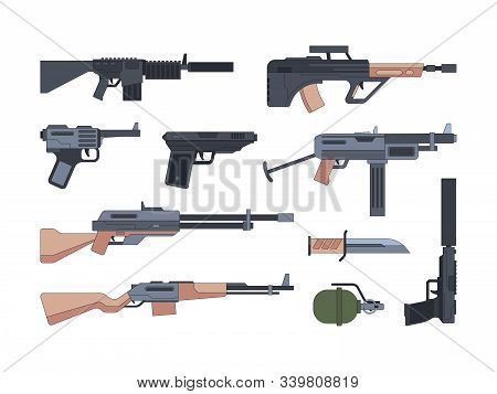 Military Weapons And Munition Flat Illustrations Set