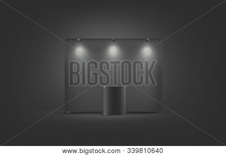 Blank Black Trade Show Booth Mock Up, On Dark Background, 3d Rendering. Empty Banner With Light For