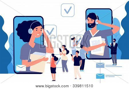 Business Assistants. Effective Time Management Vector Concept. Flat People Using Online Secretary Ap