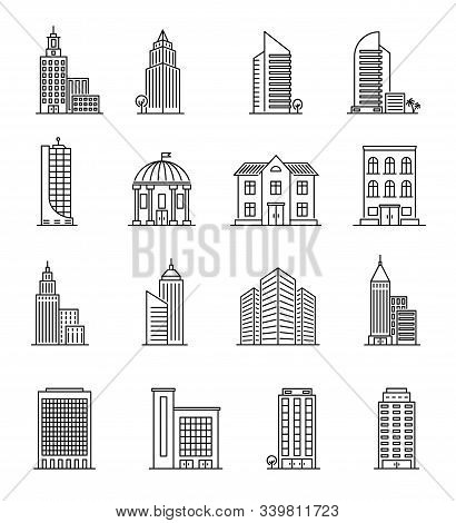 Line Buildings. Urban Architecture, Skyscrapers. Hotel, University And Bank, City Library Line Art D
