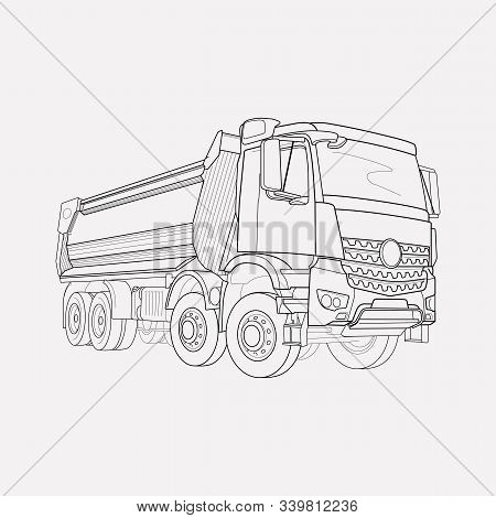 Dump Truck Icon Line Element. Vector Illustration Of Dump Truck Icon Line Isolated On Clean Backgrou
