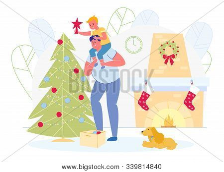 Happy Family With Dog Prepare For Christmas And New Year Holidays Celebration Decorating Fir-tree To