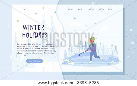 Active Winter Holidays Landing Page. Cartoon Cute Happy Boy Playing Hockey On Icy Rink Or Frozen Pon