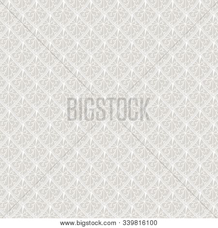 Vector Abstract Overlapping Leaves In Shades Of Gray Grey Seamless Repeat Pattern. Background For Te