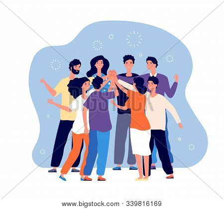 Friends Doing High Five. Big People Team Doing High Five Together, Happy Friend Group, Informal Gree