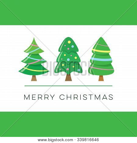 Vector Merry Christmas Card With Cute Trees
