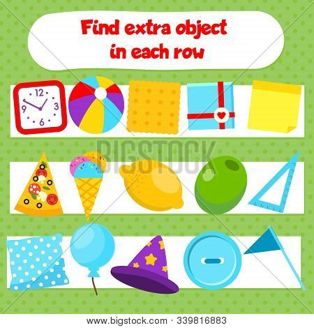 Educational Children Game. What Does Not Fit Logic Game. Find Odd One, Extra Object Fun Page For Kid