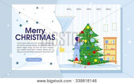 Merry Christmas Trendy Flat Landing Page With Cartoon Boy Character Decorating Xmas Fir Tree Using B