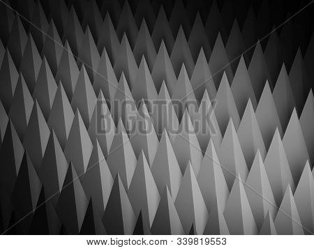 Abstract Dark Digital Relief Structure, Cg Background With Sharp Triangular Surface Pattern. 3d Rend