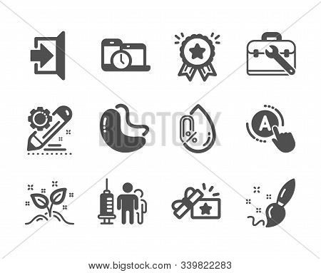 Set Of Business Icons, Such As Loyalty Award, Time Management, Exit, Project Edit, Tool Case, No Alc